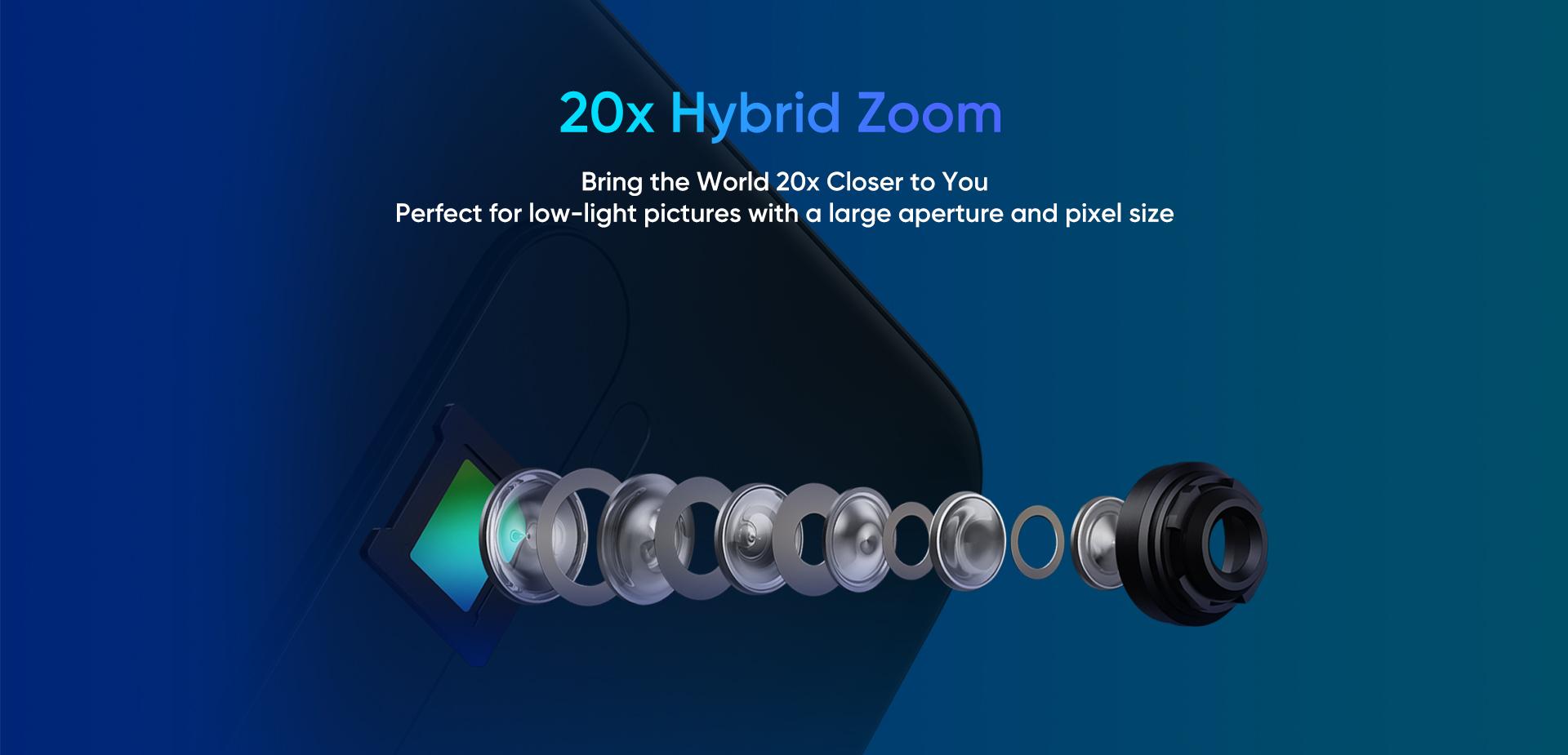 Realme X2 Pro- 20X hybrid zoom.